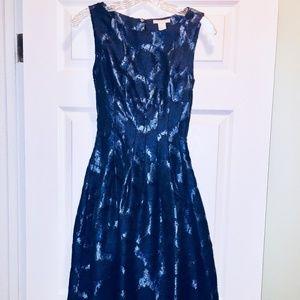 H&M Blue Floral Metallised Dress